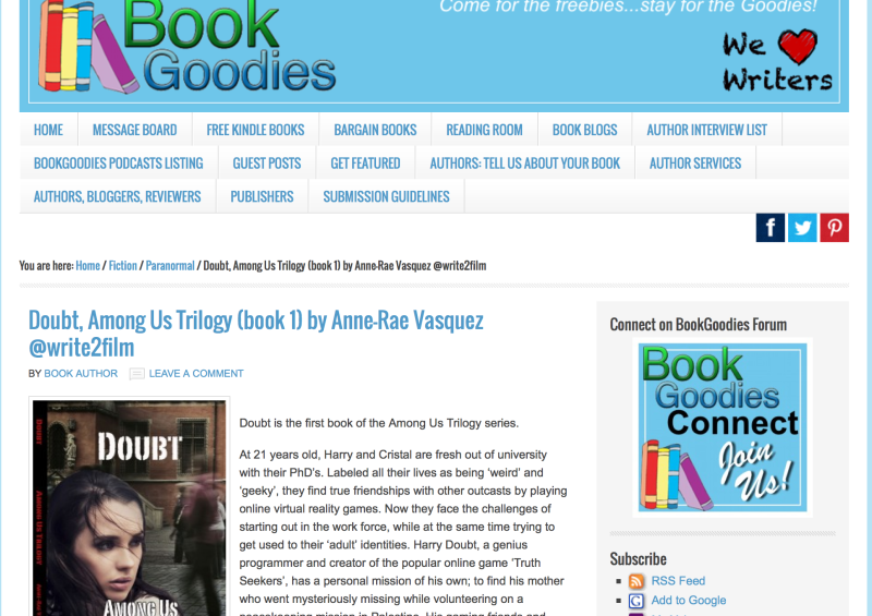 BookGoodies.com interview with Anne-Rae Vasquez