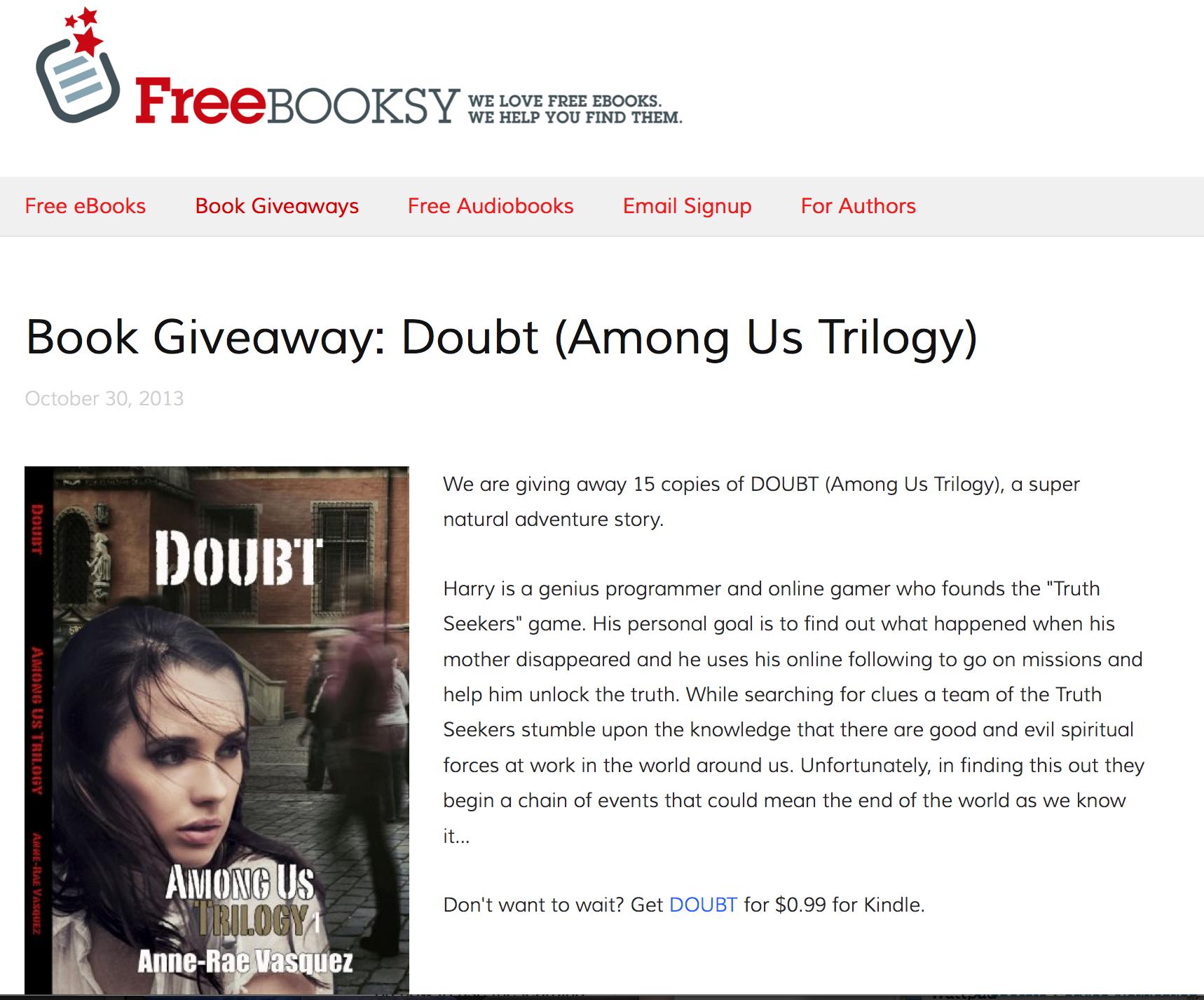 FreeBooksy Giveaway of Doubt Among Us Trilogy