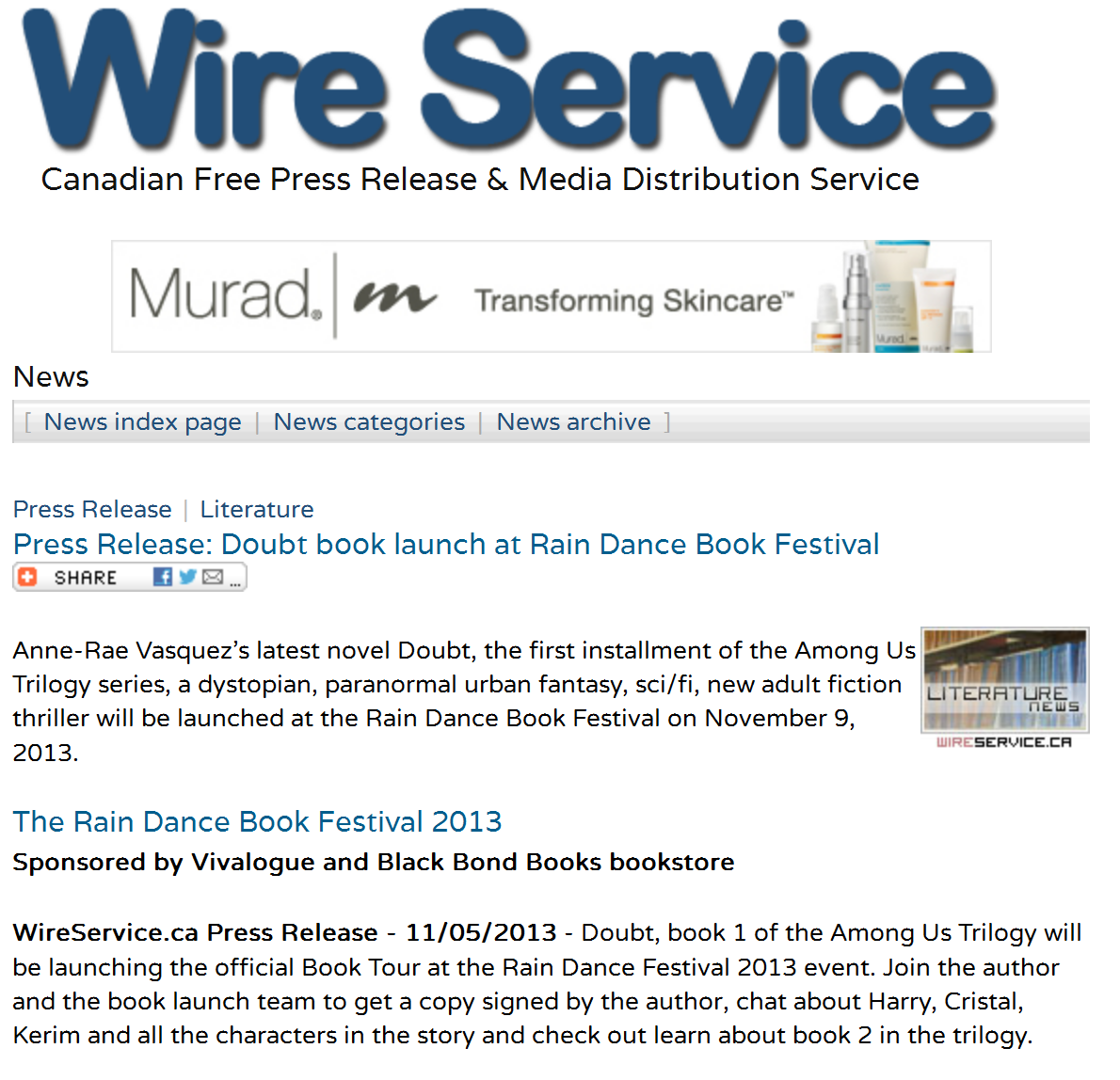 Press release Doubt Among Us Trilogy Book launch Nov 9