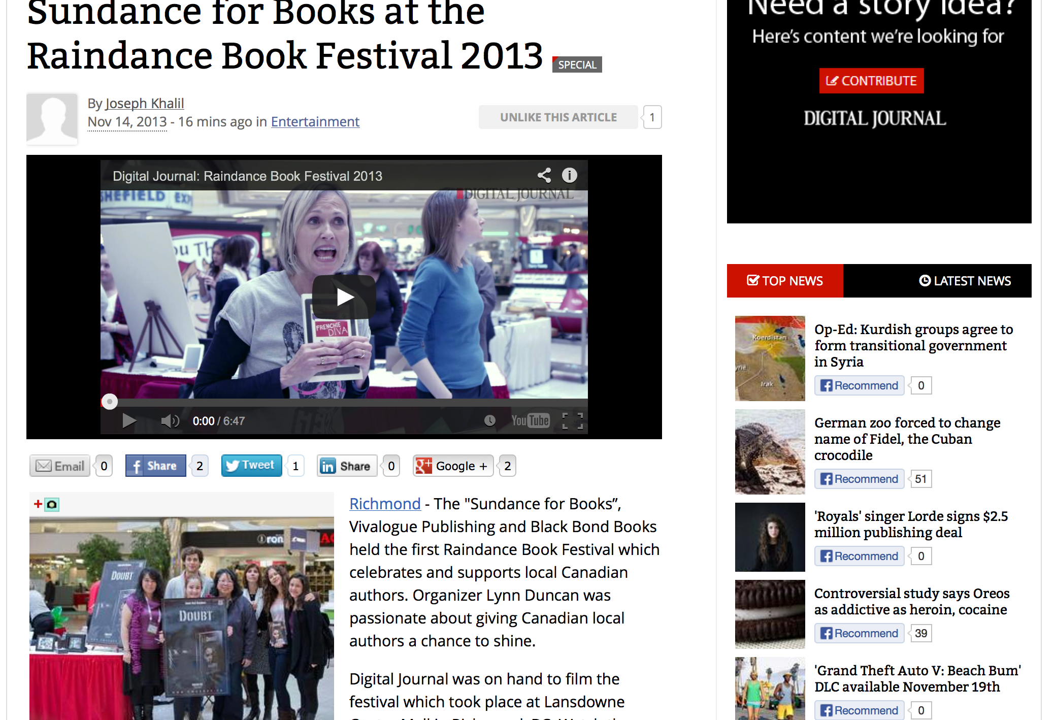 Digital Journal article featuring Doubt and Raindance Book Festival