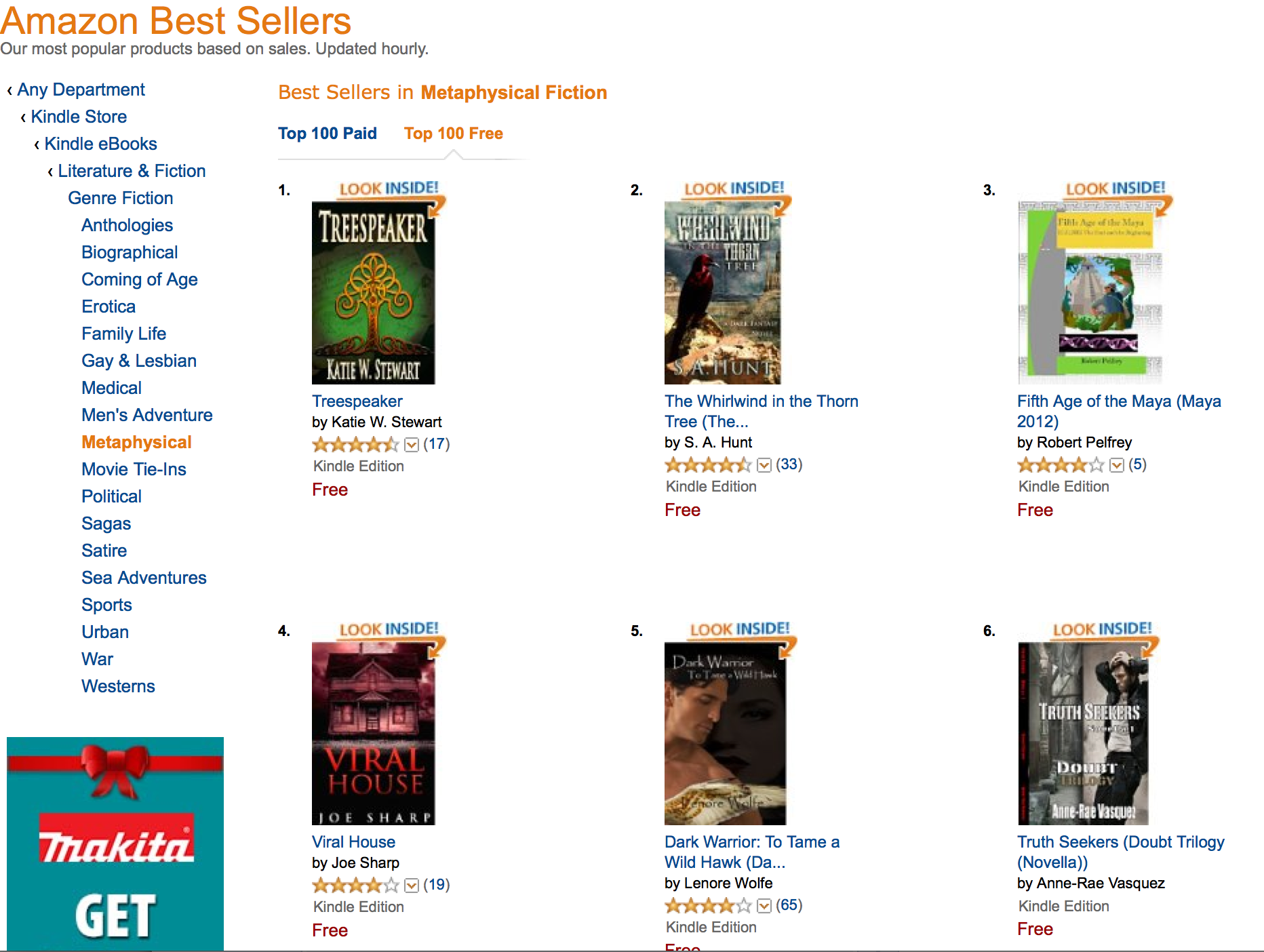 #6 in Amazon Best Seller list for newly released Truth Seekers part 1 novella