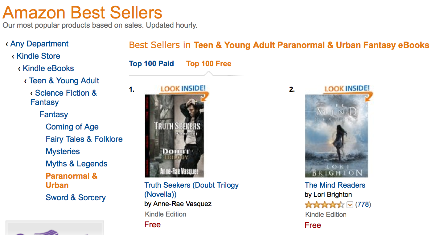 #1 Amazon Best Seller List - Truth Seekers by Anne-Rae Vasquez