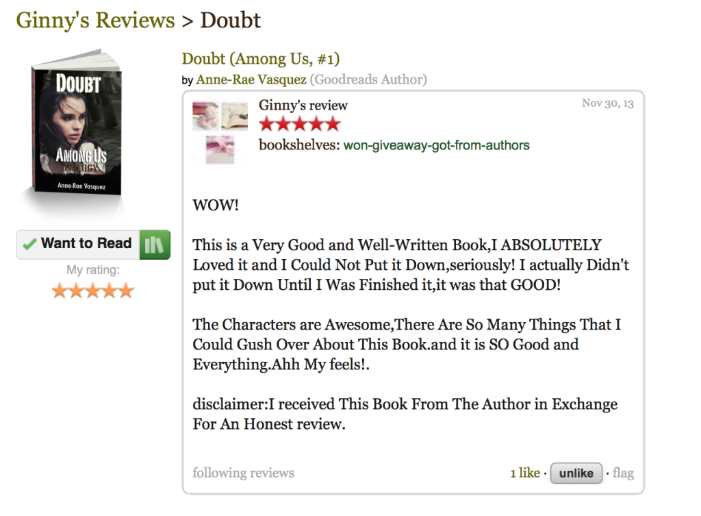 GoodReads Review of Doubt