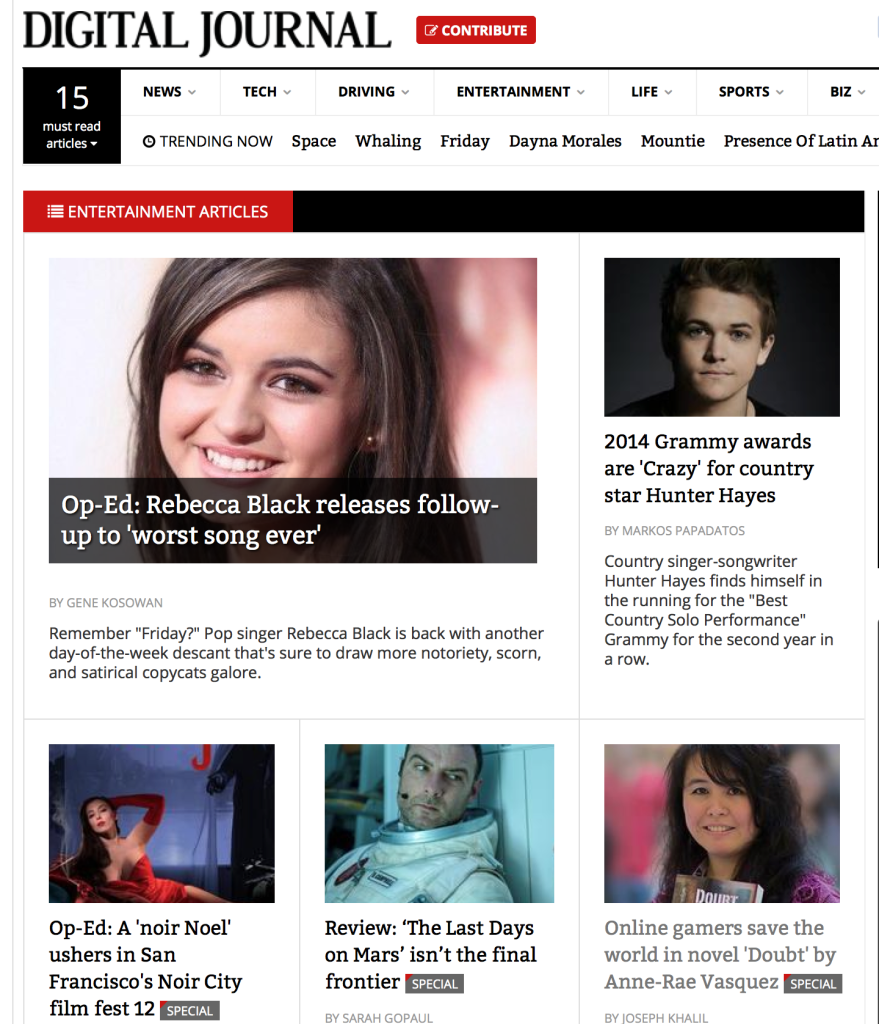 Digital Journal features Anne-Rae Vasquez interview about Doubt on Entertainment page