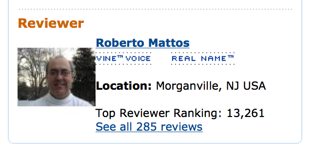 Roberto Mattos, Amazon Vine Voice Top Reviewer