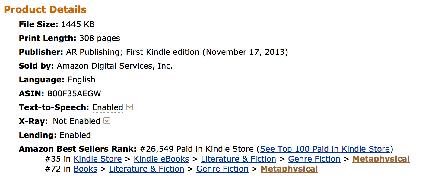 Doubt rises to #35 Amazon Best Seller List
