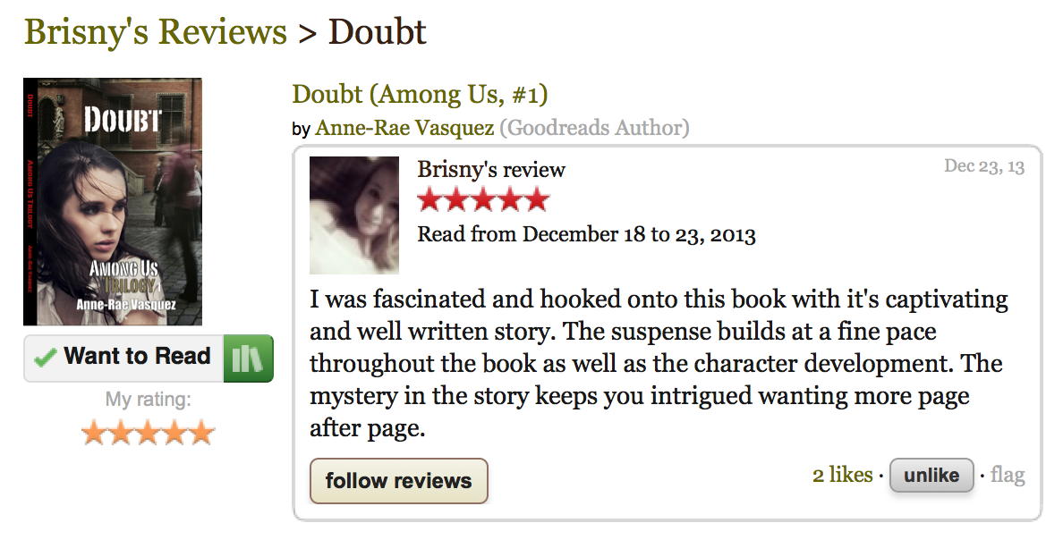 GoodReads 5 star review of Doubt - Among Us Trilogy