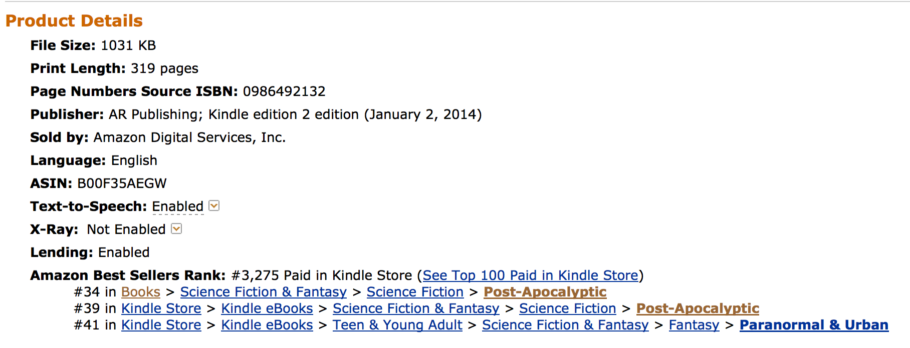 #35 in Amazon Best Seller Post Apocalyptic list
